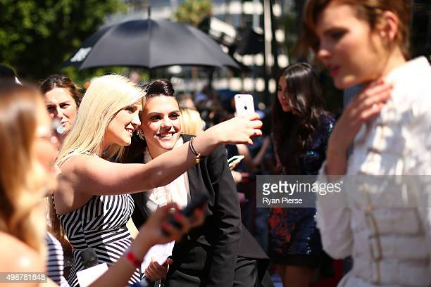 Louise Adams takes a selfi with fans arriving for the 29th Annual ARIA Awards 2015 at The Star on November 26, 2015 in Sydney, Australia.