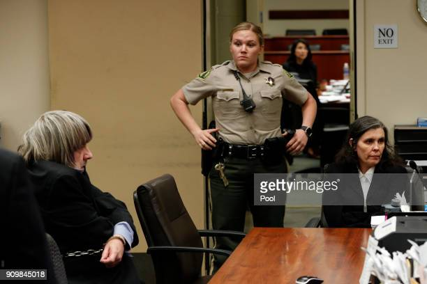 Louise Anna Turpin and David Allen Turpin accused of abusing and holding 13 of their children captive appear in court on January 24 2018 in Riverside...