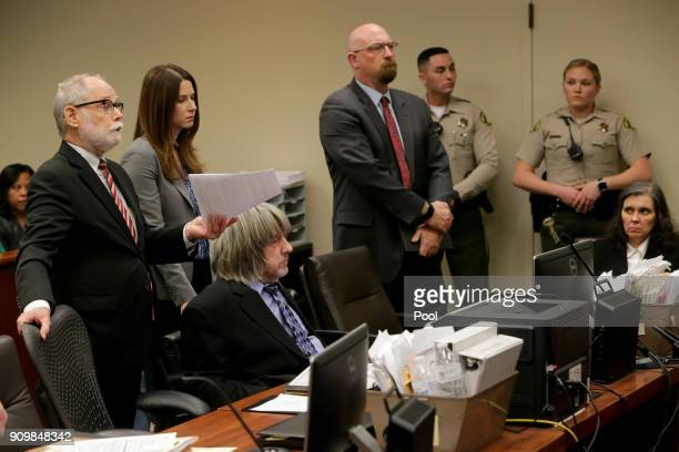 Louise Anna Turpin and David Allen Turpin accused of abusing and holding their 13 children captive appear with attorneys David Macher Alison Lowe and...
