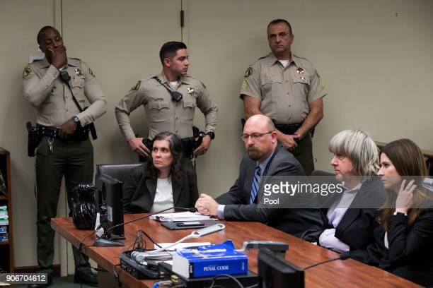 Louise Anna Turpin David Allen Turpin accused of holding their 13 children captive appear in court for arraignment with attorneys Jeff Moore and...