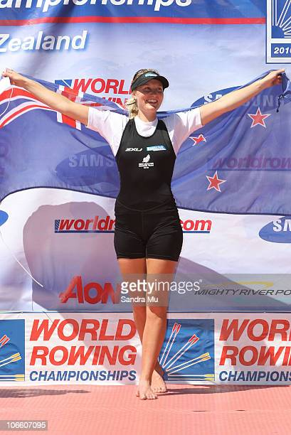 Louise Ayling of New Zealand celebrates silver on the podium after the Women's Lightweight Single Sculls during day eight of the World Rowing...