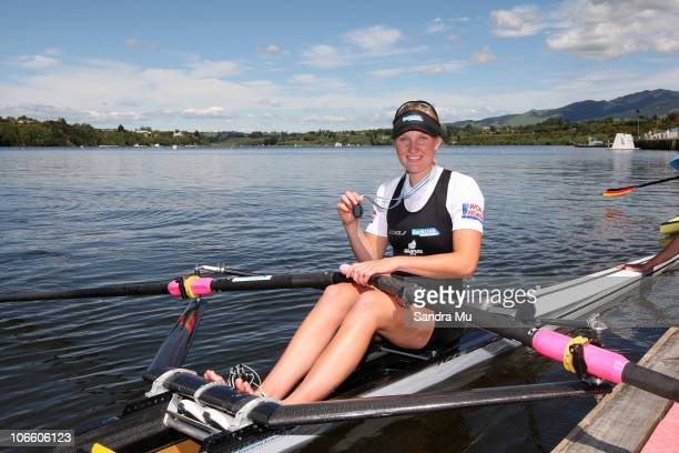 Louise Ayling of New Zealand with her silver medal after the Women's Lightweight Single Sculls during day eight of the World Rowing Championships at...