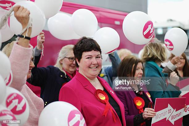 Louise Baldock Labour's candidate for Stockton South is pictured surrounded by balloons during a visit to an Asda store on March 27 2015 in Thornaby...