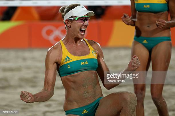 Louise Bawden of Australia celebrates a point during a Women's Round of 16 match between Poland and Australia on Day 8 of the Rio 2016 Olympic Games...