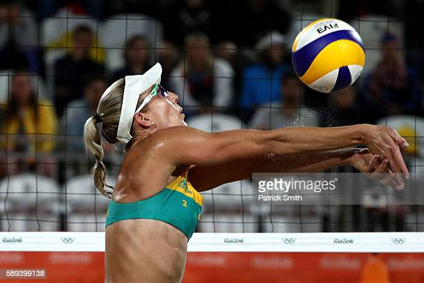 Louise Bawden of Australia plays a shot during a Women's Round of 16 match between Poland and Australia on Day 8 of the Rio 2016 Olympic Games at the...