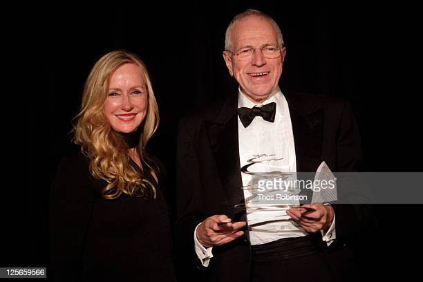 Louise Blouin, CEO & Chairman of Louise Blouin Media and Sir Edmund Phelps attend The Louise Blouin Foundation Presents The Fifth Annual Blouin...