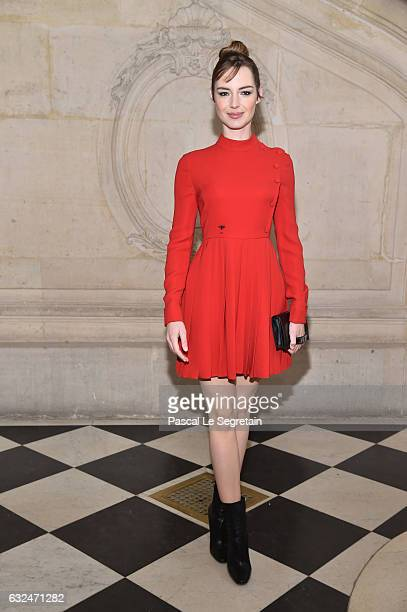 Louise Bourgoin attends the Christian Dior Haute Couture Spring Summer 2017 show as part of Paris Fashion Week on January 23 2017 in Paris France