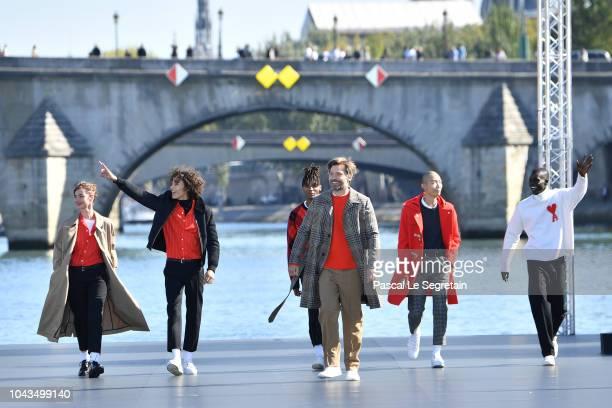 Louise Bourgoin Max Fieschi Emmanuel Yebe Nikolaj Coster Waldau Xu Mee and Alpha Dia walk the runway during Le Defile L'Oreal Paris as part of Paris...