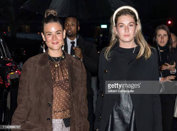 Louise Chen and Camille Charriere are seen arriving to the Prada Resort 2020 fashion show at Prada Headquarters on May 02 2019 in New York City