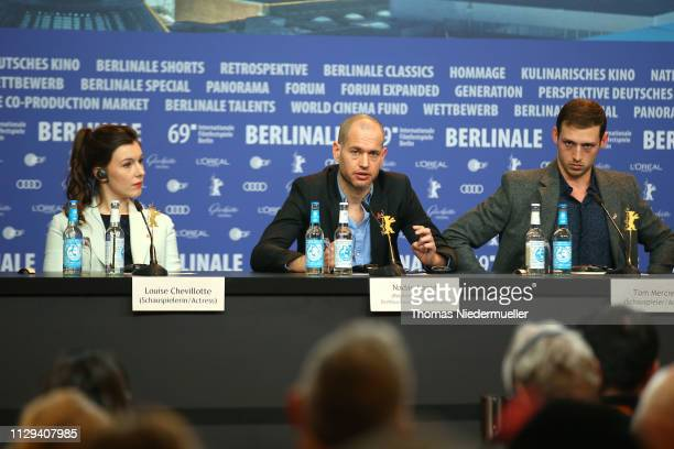 Louise Chevillotte director Nadav Lapid and Tom Mercier are seen at the Synonymes press conference during the 69th Berlinale International Film...