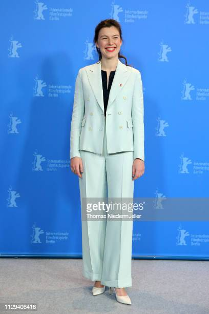 Louise Chevillotte poses at the Synonymes photocall during the 69th Berlinale International Film Festival Berlin at Grand Hyatt Hotel on February 13...
