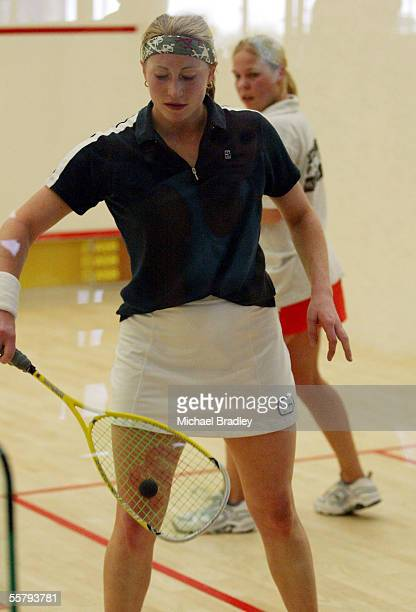 Louise Crome from Remuera in action in her clash with Jenny Mae Englebretson at the National Squash Championships held at the National Squash Centre...