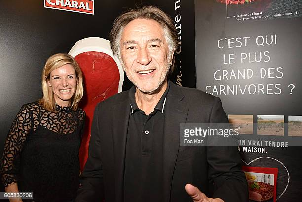 Louise Ekland and Richard Berry attend the 'Charal' 30th Anniversary Pop Up Store Opening Party at Rue des Halles on September 14, 2016 in Paris,...