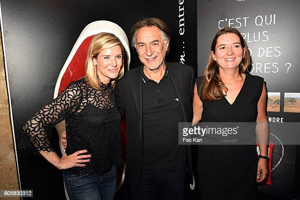 Louise Ekland, Richard Berry and Charal Marketing director Stephanie Berard Gest attend the 'Charal' 30th Anniversary Pop Up Store Opening Party at...