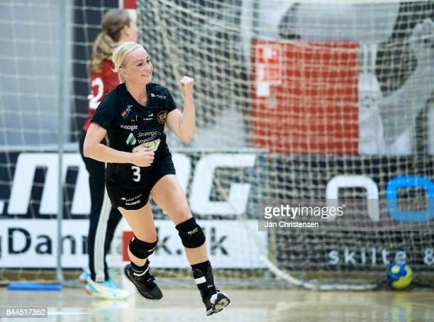 Louise Fons of Copenhagen Handball celebrate after goal during the Danish HTH Go Ligaen match between Copenhagen Handball and Silkeborg Voel in...