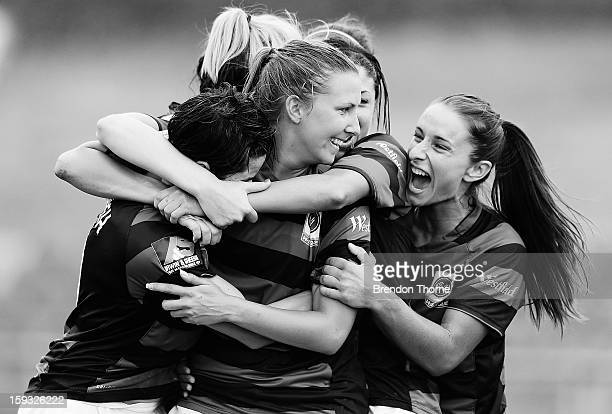 Louise Fors of the Wanderers celebrates with team mates after scoring the Wanderers second goal during the round 12 W-League match between the...