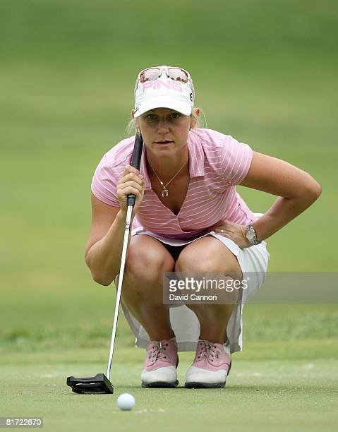 Louise Friberg of Sweden lines up a parr putt at the 14th hole during the first round of the 2008 US Women's Open Championship held at Interlachen...