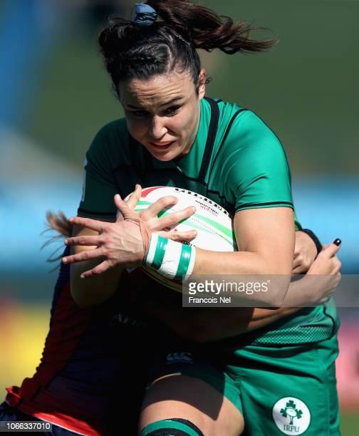 Louise Galvin of Ireland runs with the ball on day one of the Emirates Dubai Rugby Sevens HSBC World Rugby Sevens Series at The Sevens Stadium on...
