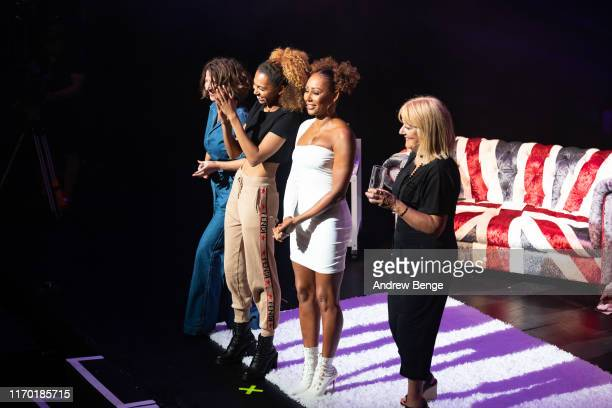Louise Gannon Phoenix Chi Mel B and Andrea Brown on stage during her Brutally Honest Fabulous Show at The Grand Theatre Opera House on August 25 2019...