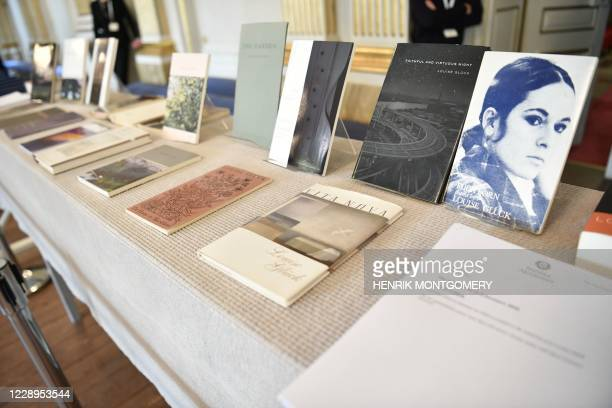Louise Gluck's books are on display during the announcement of the 2020 Nobel Prize in literature at the Swedish Academy in Stockholm on October 8,...