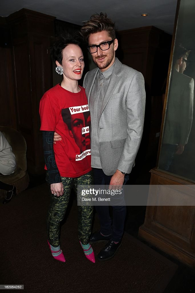 Louise Gray (L) and Henry Holland attend the Richard Nicoll and Louise Gray after party at Soho House on February 18, 2013 in London, England.