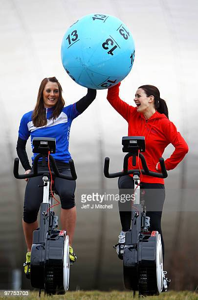 Louise Haston and television presenter Kirsty Gallacher launch the Scottish leg of The National Lottery�s Britain Has Ball Tour on March 16 2010 in...