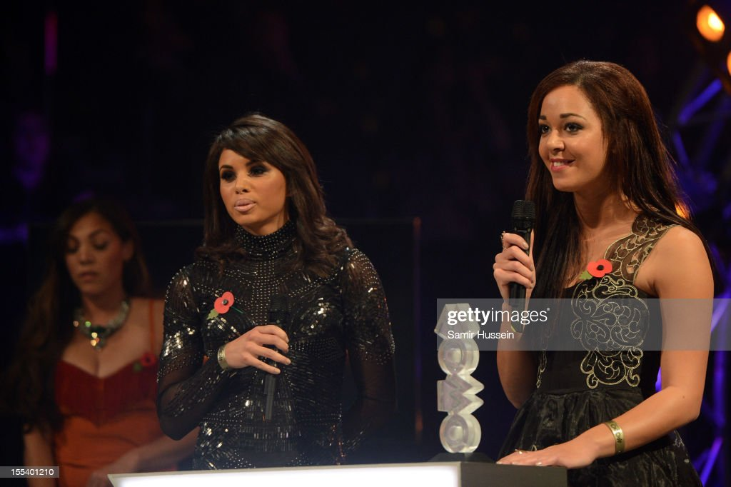 Louise Hazel and Katarina Johnson-Thompson present the Best R&B/Soul award at the 2012 MOBO awards at Echo Arena on November 3, 2012 in Liverpool, England.