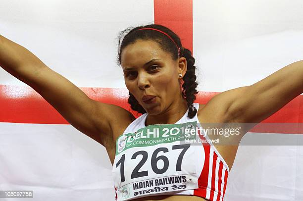 Louise Hazel of England celebrates winning gold in the women's heptathlon at the Jawaharlal Nehru Stadium during day six of the Delhi 2010...