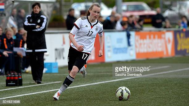 Louise Jona Trapp of Germany runs with the ball during the U17 Girl's international friendly match between Netherlands and Germany on April 27 2016...