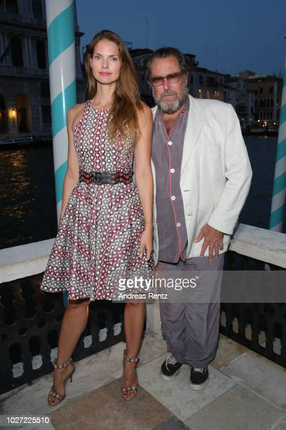 Louise Kugelberg and Julian Schnabel attend the Fondazione Mimmo Rotella 2018 Award to Willem Dafoe And Julian Schnabel at Peggy Guggenheim Museum on...
