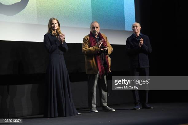 Louise Kugelberg JeanClaude Carriere and Jon Kilik attend the 'At Eternity's Gate' premiere during the 56th New York Film Festival at Alice Tully...