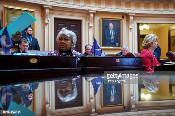 L Louise Lucas Democrats and longtime member of the Virginia Legislative Black Caucus listens to the proceedings on the Senate floor at the Virginia...