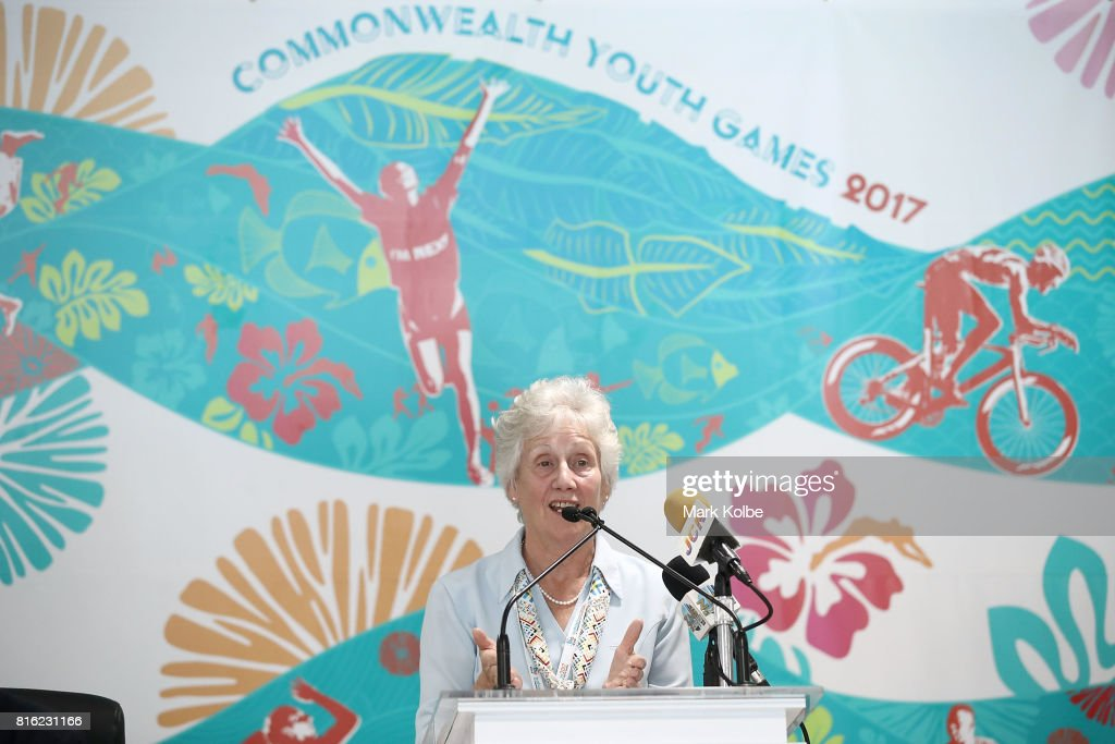 Louise Martin CBE, President, Commonwealth Games Federation speaks to the media during the 2017 Commonwealth Youth Games Opening Press Conference held at the Thomas A Robinson Stadium on July 17, 2017 in Nassau, Bahamas.