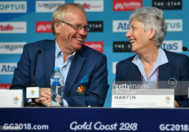 Louise Martin President Comm Games Federation and Peter Beattie Chairman enjoy a smile during a press conference on day nine of the Gold Coast 2018...