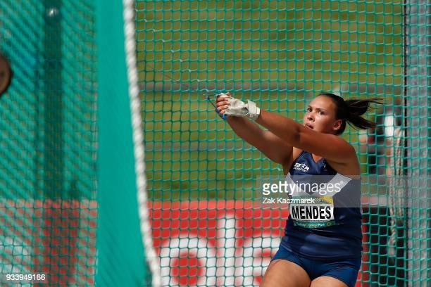 Louise Mendes of Victoria competing in the Women's Under 20 Hammer throw Final during day four of the Australian Junior Athletics Championships at...