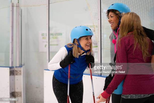 Louise Minchin Dr Zoe Williams and Samantha Womack train on February 7 2020 in London England The celebrities are training for Sport Relief On Thin...