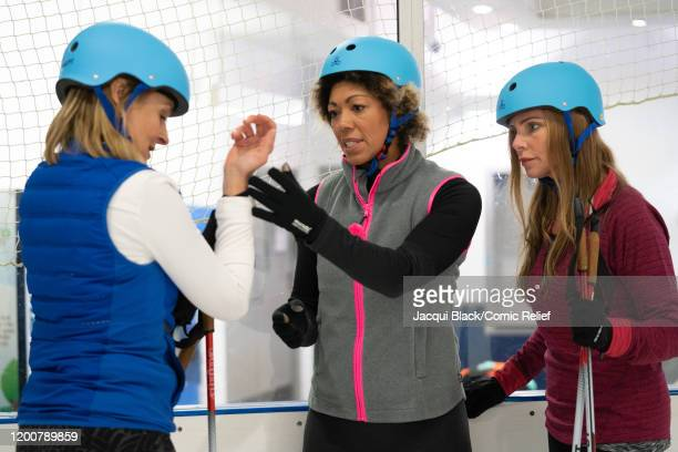 Louise Minchin Dr Zoe Williams Samantha Womack train on February 7 2020 in London England The celebrities are training for Sport Relief On Thin Ice...