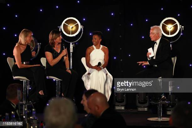 Louise Minchin Katherine Grainger and Dame Kelly Holmes discuss women's sport during the Sports Book Awards at Lord's Cricket Ground on June 04 2019...