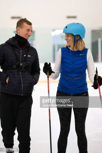 Louise Minchin laughs with a trainer during her training on February 7 2020 in London England The celebrities are training for Sport Relief On Thin...
