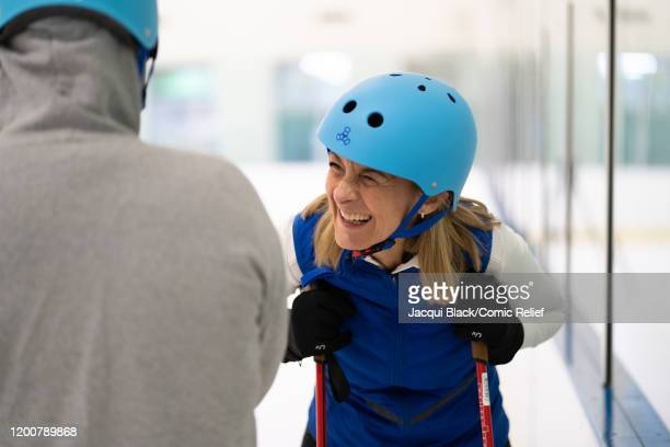 Louise Minchin laughs with Rob Rinder during their training on February 7 2020 in London England The celebrities are training for Sport Relief On...