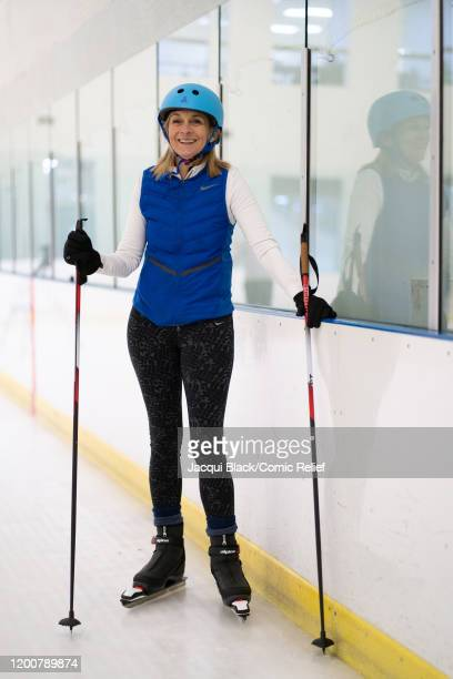 Louise Minchin poses for the camera as she trains on February 7 2020 in London England The celebrities are training for Sport Relief On Thin Ice as...