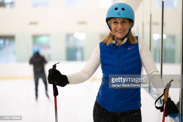 Louise Minchin smiles for the camera as she trains on February 7 2020 in London England The celebrities are training for Sport Relief On Thin Ice as...