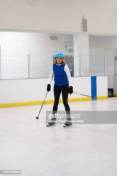 Louise Minchin trains on February 7 2020 in London England The celebrities are training for Sport Relief On Thin Ice as they prepare to cycle skate...