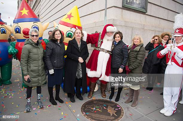 Louise Mirrer Helen Rosenthal Gale A Brewer and Amy Kule unveil the Starting Line Plaque On The Upper West Side Of New York City To Commemorate The...