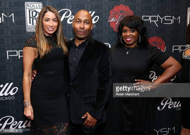 Louise Monger, Jared L. Kelly and Erika Jordan attend Perillo Rolls Royce Unveils Cullinan, A Work Of Art, With Arthur J. Williams JR. At Perillo...
