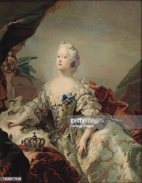 Louise of Great Britain , Queen of Denmark, 1747. Found in the collection of Statens Museum for Kunst, Copenhagen. Artist Pilo, Carl Gustaf . .