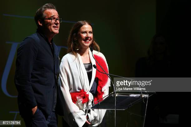 Louise Olsen and Stephen Ormandy of Dinosaur Designs accept the 2017 Best Australian Accessories Designer Fashion Laureate Award on November 9 2017...