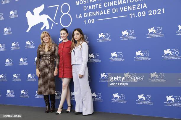 """Louise Orry Diquero, Anamaria Vartolomei and Luàna Bajrami attend the photocall of """"L'Evenement"""" during the 78th Venice International Film Festival..."""