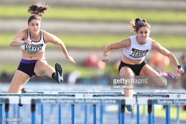 Louise Pearce of Queensland competes in the Womens Heptathlon 100m hurdles during the Australian Track and Field Championships at Sydney Olympic Park...