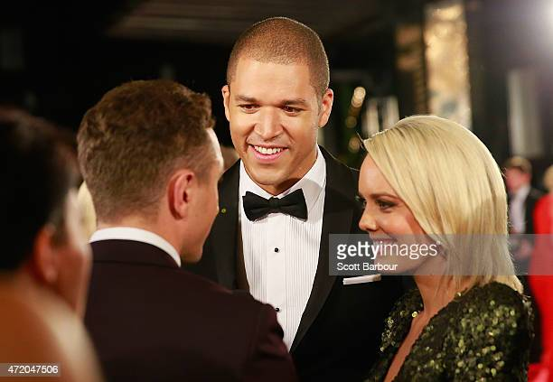 Louise Pillidge and Blake Garvey arrive at the 57th Annual Logie Awards at Crown Palladium on May 3 2015 in Melbourne Australia
